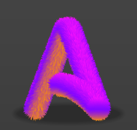 the letter A with the effect of fur. shaggy letter