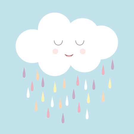 Cute smiling rain cloud with rain drops in shades of blue. Nursery art for boys. Card design for baby shower. Illustration