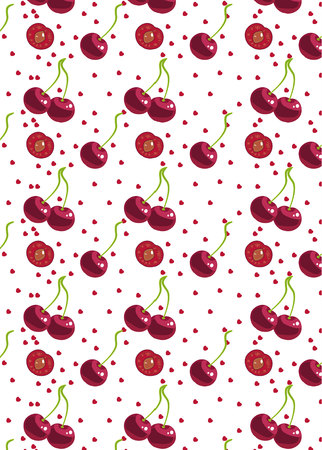 cherry with hearts pattern. for textile, wrapping, wallpapers, etc. Vector illustration.