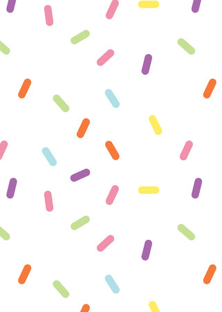 Colorful vector confetti pattern. multicolored sticks. Bakery themed donut, doughnut or cupcake sugar sprinkle background.
