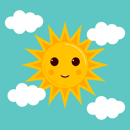 Day illustrations with funny smiling cartoon characters of sun and clouds
