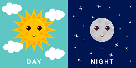 Day and night illustrations with funny smiling cartoon characters of sun and moon, clouds and stars Illustration