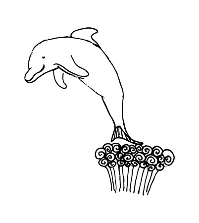 SKETCH OF DOLPHIN WIPING FROM WATER Illustration