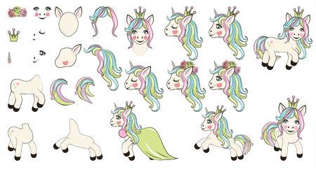 large set with unicorns and unicorn parts for design Illustration