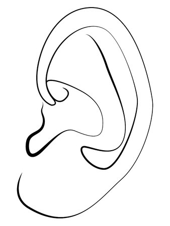 ear simple linear drawing on white background Vector illustration