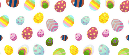 background for happy Easter day. The decorative Easter eggs with different patterns and different sizes on a white background.