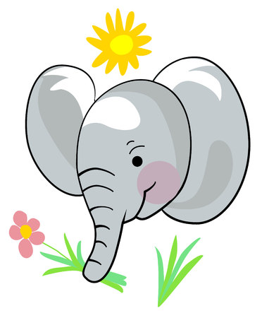 sketch of a cute elephant with a flower and a sun Animal illustration print