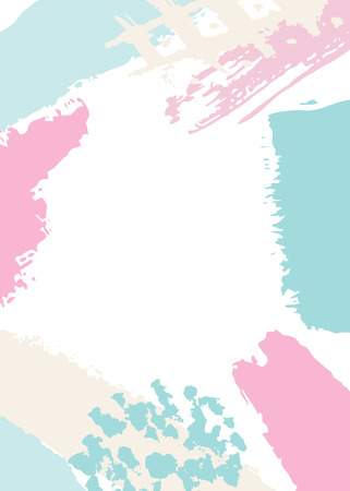 White background with pastel pink, blue and beige abstract stains and brush strokes. Illustration
