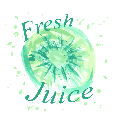 inscription fresh juice and watercolor texture in the form of kiwi for design Illustration