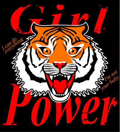 Japanese style tiger vector embroidery patch illustration for t-shirt, tee graphic and other uses.Born to be wild Tiger Graphic Vector Design T-shirt. hand drawn tiger illustration and typography. Archivio Fotografico - 127728046