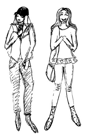 Sketches of two women dressed in trendy street clothes