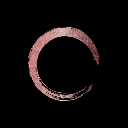 Gold rose brush stroke in form circle. Pink sparkle circle frame. Copper metal paint texture isolated on black background.
