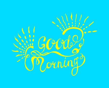 Good morning sunshine nice vector calligraphy lettering motivation phrase poster design with sun Illustration