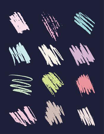Set chalk stroke.distressed grunge modern textured chalk stroke. Hand drawn Illustration