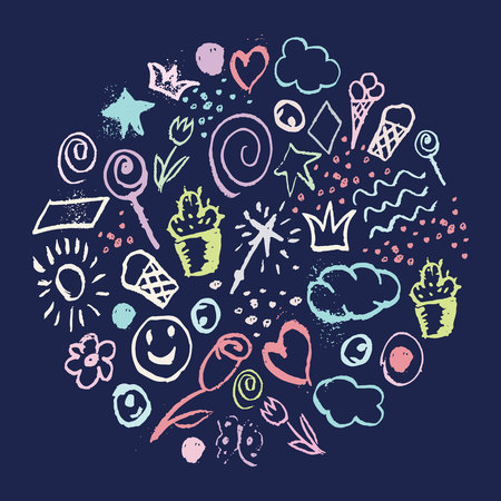 set of sketches of objects of pop culture with colorful chalk in the form of a circle on a dark blue background. isolated vector illustration Illustration