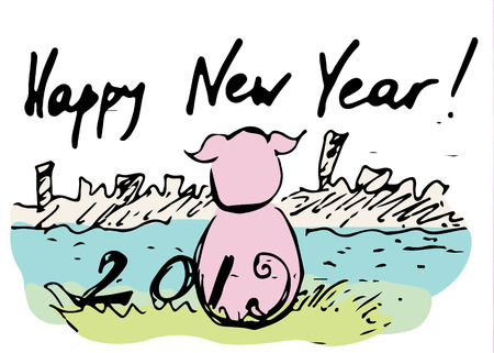 Pig sitting on the grass and looks at the city. Congratulations concept for the new year 2019. Illustration