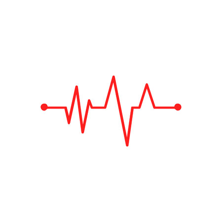 hearbeat cardiogram red Medicine signs on white background