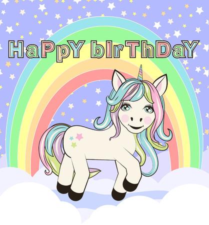 Cute unicorn standing on the cloud illustration for birthday card design Illustration