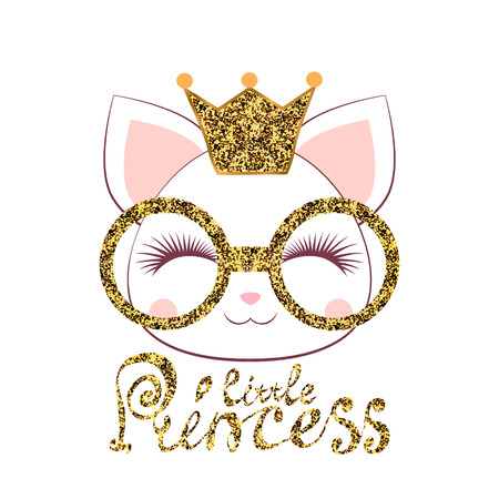 muzzle of a kitten girl with a gold crown and glasses with an inscription a little princess on white background Can be used for baby t-shirt print, fashion print design, kids wear, baby shower Illustration