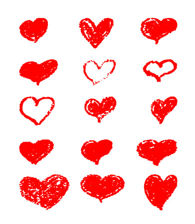 A set of hand-drawn red hearts. Design elements with a grunge texture for gift cards, invitations and valentines. heart painted with a brush. Illustration