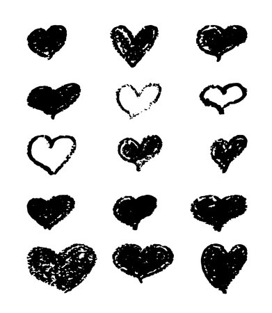 A set of hand-drawn black hearts. Design elements with a grunge texture for gift cards, invitations and valentines. heart painted with a pomade.