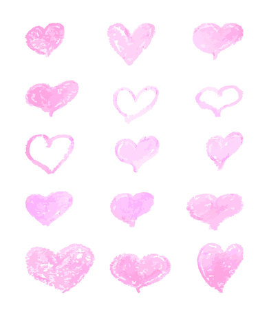 A set of hand-drawn pink hearts. Design elements with a grunge texture for gift cards, invitations and valentines. heart painted with a brush.