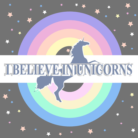 round rainbow and silhouette of unicorn with slogan in white frame on grey background with stars