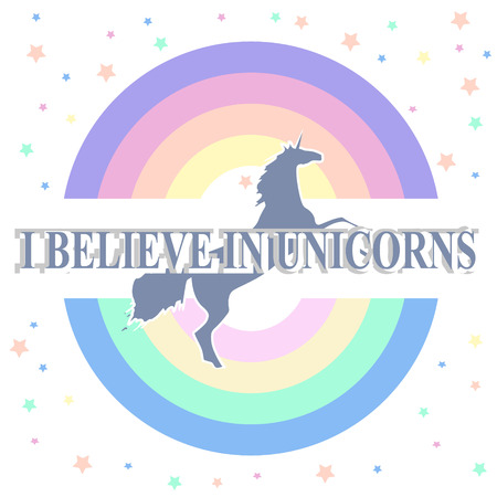 round rainbow silhouette of unicorn and slogan in white frame on with stars