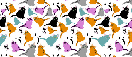 little cats pattern. pattern with cute cartoon doodle cats on white background. Little colorful kittens. Funny animals. Children s illustration. Vector image.