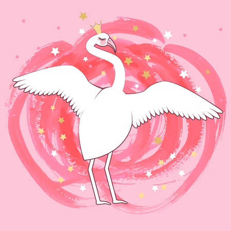 cute flamingo queen. Can used for print design, greeting card, baby shower. Illustration