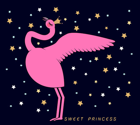cute flamingo on a blue background with bright stars. Can used for print design, greeting card, baby shower.