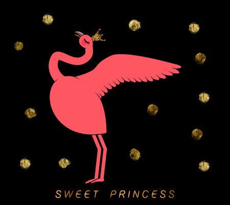 cute flamingo in gold with sparkles crown on black background with gold circles and inscription sweet princess. Can used for print design, greeting card, baby shower.