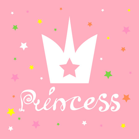 Princess with Crown slogan for print. Illustration