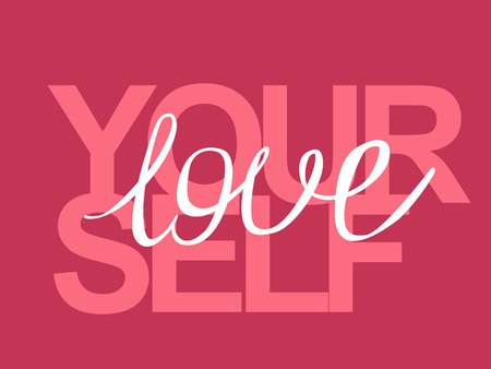 Phrase lettering writing quote love yourself handwritten white text isolated on pink background vector. Each word is on the separate layer