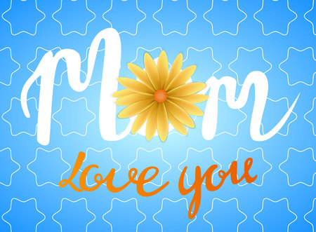 Mothers day greeting card template on blue background. Love you mom text.