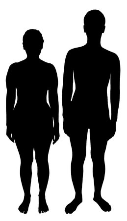 silhouettes of men and women on a white background Archivio Fotografico - 112712387