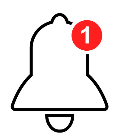 Notification icon vector. bell with a red circle. linear sign