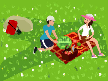 Happy couple on a picnic. Girl and boy are resting in nature. Vector illustration in a flat style Illustration