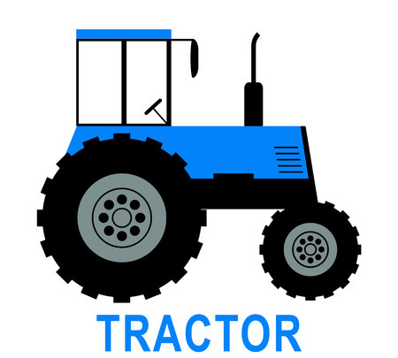 BLUE big tractor illustration vector