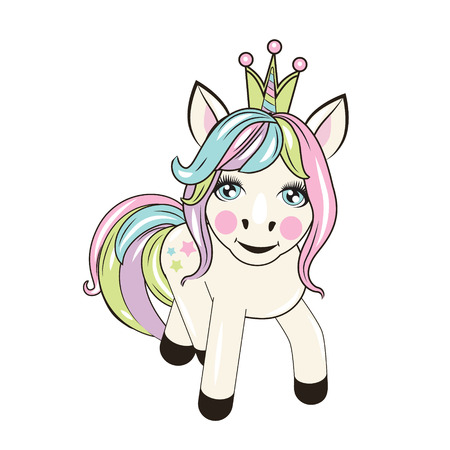 beautiful unicorn with crown stands on the white background