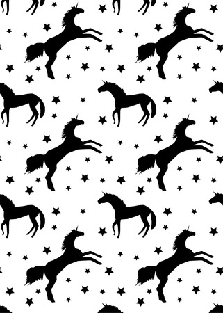 pattern black unicorn and stars on white background, vector illustration