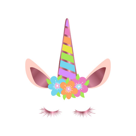 Happy unicorn face with flowers vector. Rose gold
