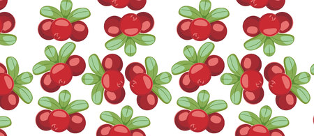 pattern with Cowberry Lingonberry (Vaccinium vitis-idaea)