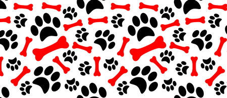 Dog paw print trails and candy cane in shape of bone biscuit treat.