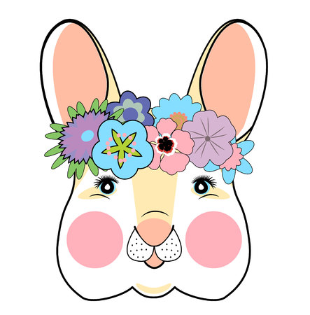 hand drawn vector illustration of cute romantic bunny girl with flowers can be used for kid s or baby s shirt design fashion print design fashion graphic. Illusztráció