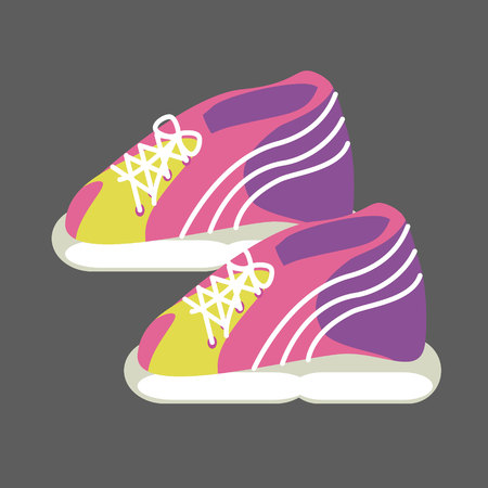 sneakers bright pink, yellow and purple isolated on grey background. Vector illustration Stock Illustratie