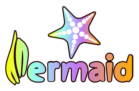 Mermaid holographic lettering inscription with seashell. marine motivational print for poster, textile, card. Mermaid inspirational vector illustration.
