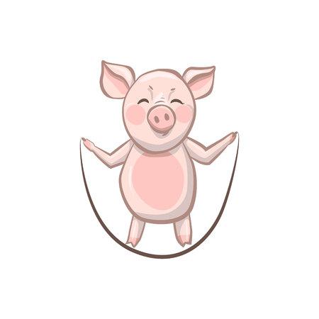 pig grins jumps rope. funny pig who are engaged in sports. Ilustração