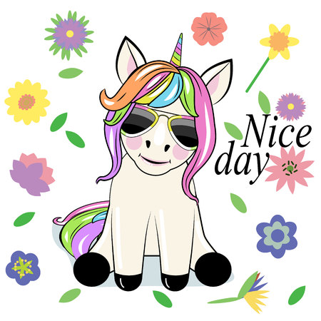 Cute Cartoon unicorn with sun glasses