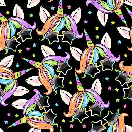 Muster mit Einhornkopf auf SCHWARZEM Hintergrund